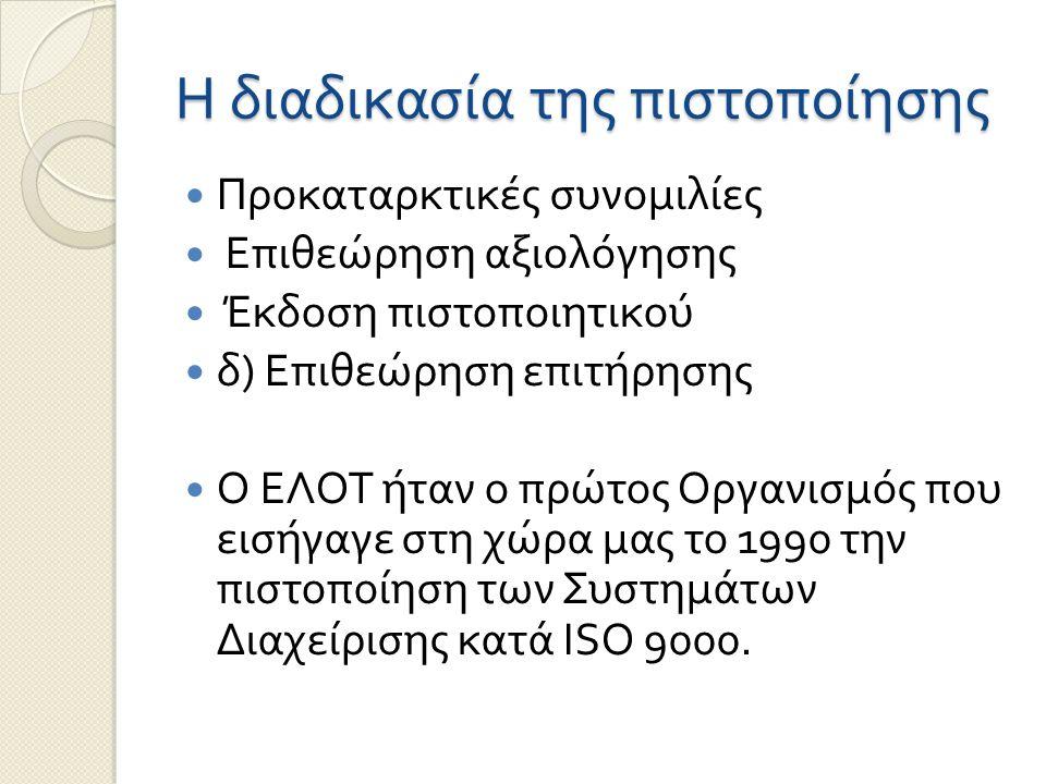 Η διαδικασία της πιστοποίησης Προκαταρκτικές συνομιλίες Επιθεώρηση αξιολόγησης Έκδοση πιστοποιητικού δ ) Επιθεώρηση επιτήρησης Ο ΕΛΟΤ ήταν ο πρώτος Ορ