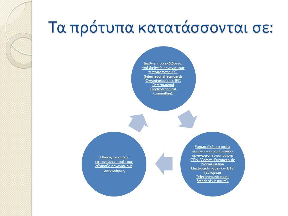 Τα πρότυπα κατατάσσονται σε : Διεθνή, π ου εκδίδονται α π ό διεθνείς οργανισμούς τυ π ο π οίησης ISO (International Standards Organisation) και IEC (I