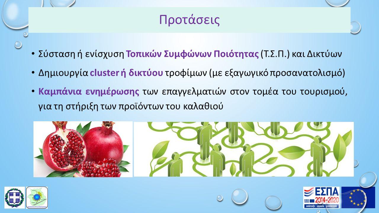 Προτάσεις Σύσταση ή ενίσχυση Τοπικών Συμφώνων Ποιότητας (Τ.Σ.Π.) και Δικτύων Δημιουργία cluster ή δικτύου τροφίμων (με εξαγωγικό προσανατολισμό) Καμπάνια ενημέρωσης των επαγγελματιών στον τομέα του τουρισμού, για τη στήριξη των προϊόντων του καλαθιού