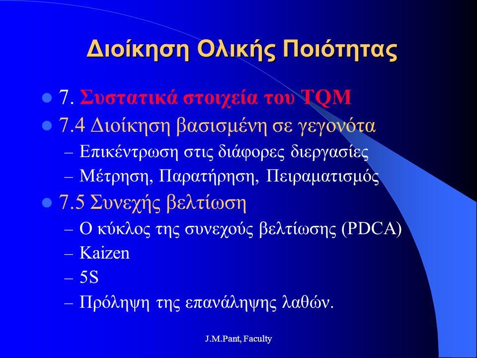 J.M.Pant, Faculty Διοίκηση Ολικής Ποιότητας 7. Συστατικά στοιχεία του TQM 7.4 Διοίκηση βασισμένη σε γεγονότα – Επικέντρωση στις διάφορες διεργασίες –