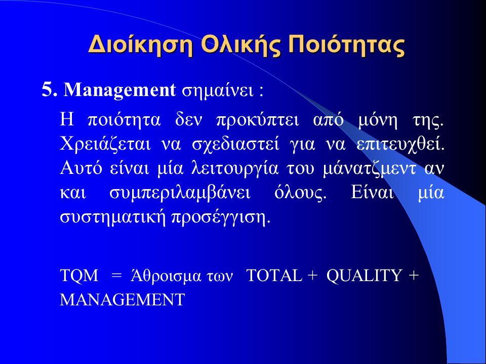 Διοίκηση Ολικής Ποιότητας 5. Management σημαίνει : Η ποιότητα δεν προκύπτει από μόνη της. Χρειάζεται να σχεδιαστεί για να επιτευχθεί. Αυτό είναι μία λ