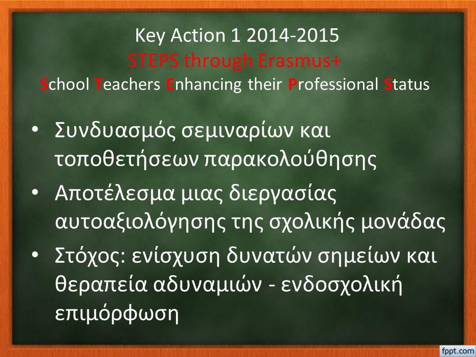 Key Action 1 2014-2015 STEPS through Erasmus+ School Teachers Enhancing their Professional Status Συνδυασμός σεμιναρίων και τοποθετήσεων παρακολούθησης Αποτέλεσμα μιας διεργασίας αυτοαξιολόγησης της σχολικής μονάδας Στόχος: ενίσχυση δυνατών σημείων και θεραπεία αδυναμιών - ενδοσχολική επιμόρφωση