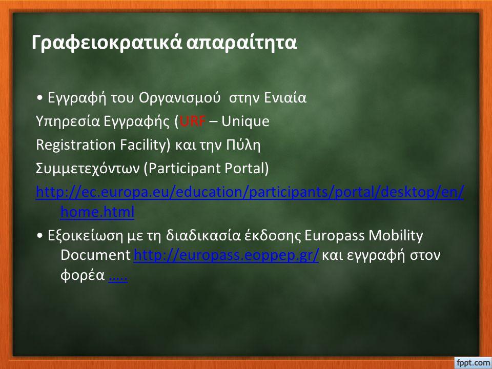 Γραφειοκρατικά απαραίτητα Εγγραφή του Οργανισμού στην Ενιαία Υπηρεσία Εγγραφής (URF – Unique Registration Facility) και την Πύλη Συμμετεχόντων (Participant Portal) http://ec.europa.eu/education/participants/portal/desktop/en/ home.html Εξοικείωση με τη διαδικασία έκδοσης Europass Mobility Document http://europass.eoppep.gr/ και εγγραφή στον φορέα …..http://europass.eoppep.gr/…..