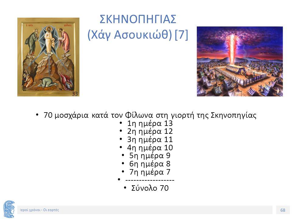 68 Ιεροί χρόνοι - Οι εορτές ΣΚΗΝΟΠΗΓΙΑΣ (Χάγ Ασουκιώθ) [7] 70 μοσχάρια κατά τον Φίλωνα στη γιορτή της Σκηνοπηγίας 1η ημέρα 13 2η ημέρα 12 3η ημέρα 11 4η ημέρα 10 5η ημέρα 9 6η ημέρα 8 7η ημέρα 7 ------------------ Σύνολο 70 33 34