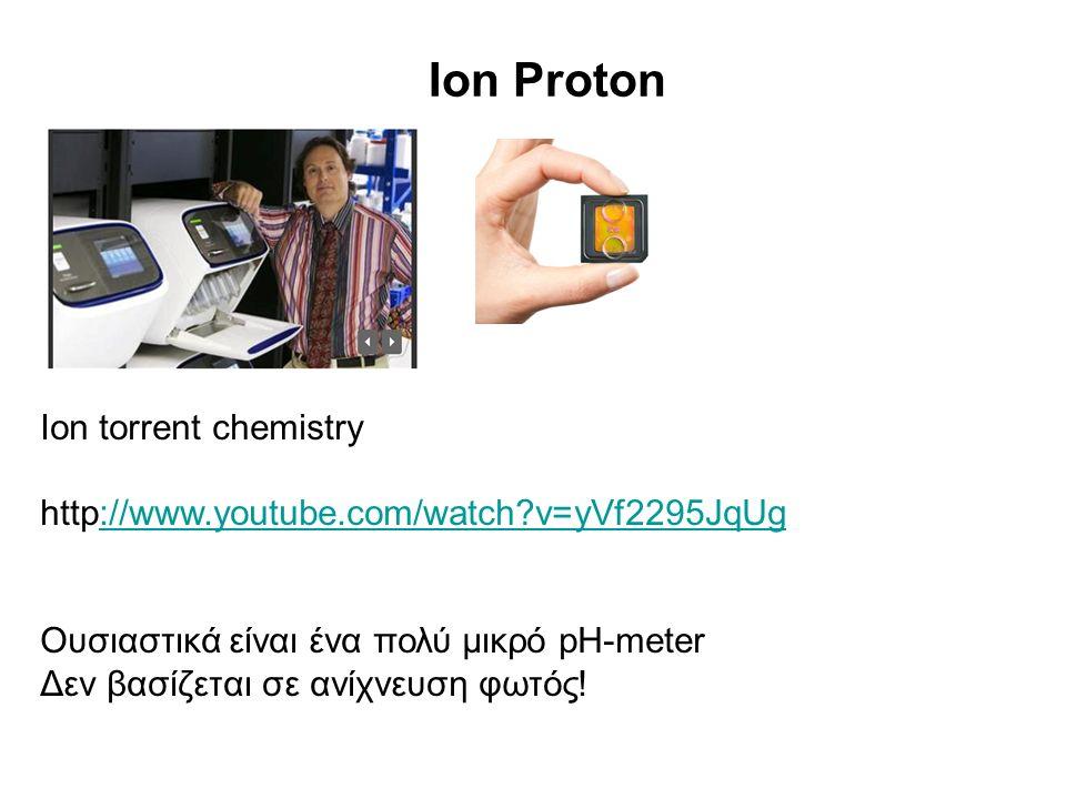 Ion Proton Ion torrent chemistry http://www.youtube.com/watch?v=yVf2295JqUg://www.youtube.com/watch?v=yVf2295JqUg Ουσιαστικά είναι ένα πολύ μικρό pH-m