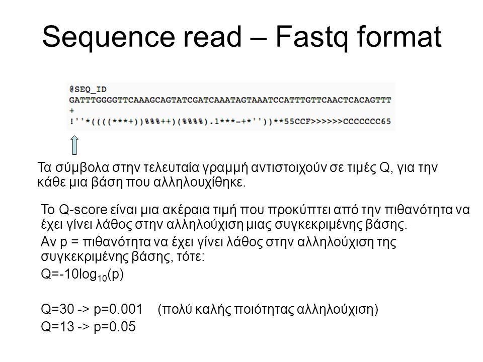 Sequence read – Fastq format Τα σύμβολα στην τελευταία γραμμή αντιστοιχούν σε τιμές Q, για την κάθε μια βάση που αλληλουχίθηκε.