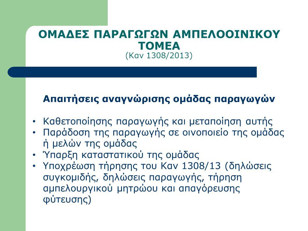 ΟΜΑΔΕΣ ΠΑΡΑΓΩΓΩΝ ΑΜΠΕΛΟΟΙΝΙΚΟΥ ΤΟΜΕΑ (Καν 1308/2013) Απαιτήσεις αναγνώρισης ομάδας παραγωγών Καθετοποίησης παραγωγής και μεταποίηση αυτής Παράδοση της παραγωγής σε οινοποιείο της ομάδας ή μελών της ομάδας Ύπαρξη καταστατικού της ομάδας Υποχρέωση τήρησης του Καν 1308/13 (δηλώσεις συγκομιδής, δηλώσεις παραγωγής, τήρηση αμπελουργικού μητρώου και απαγόρευσης φύτευσης)