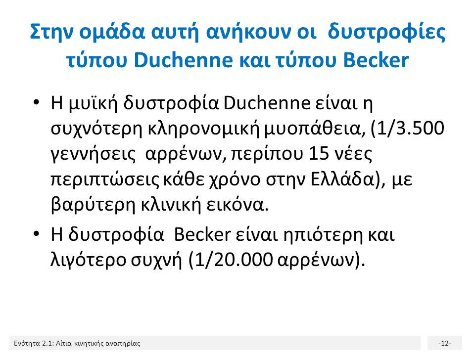 Ενότητα 2.1: Αίτια κινητικής αναπηρίας-12- Στην ομάδα αυτή ανήκουν οι δυστροφίες τύπου Duchenne και τύπου Becker Η μυϊκή δυστροφία Duchenne είναι η συχνότερη κληρονομική μυοπάθεια, (1/3.500 γεννήσεις αρρένων, περίπου 15 νέες περιπτώσεις κάθε χρόνο στην Ελλάδα), με βαρύτερη κλινική εικόνα.