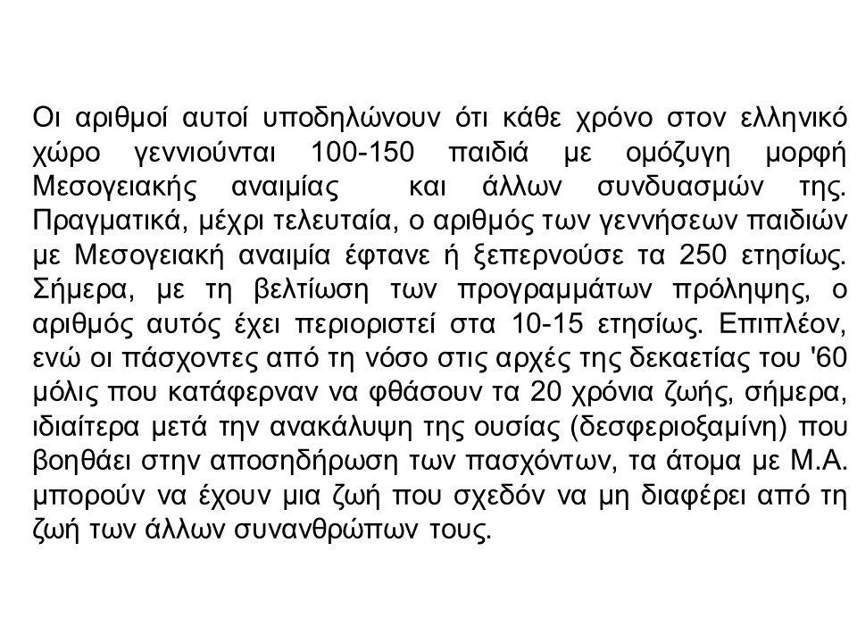 Οι αριθμοί αυτοί υποδηλώνουν ότι κάθε χρόνο στον ελληνικό χώρο γεννιούνται 100-150 παιδιά με ομόζυγη μορφή Μεσογειακής αναιμίας και άλλων συνδυασμών τ