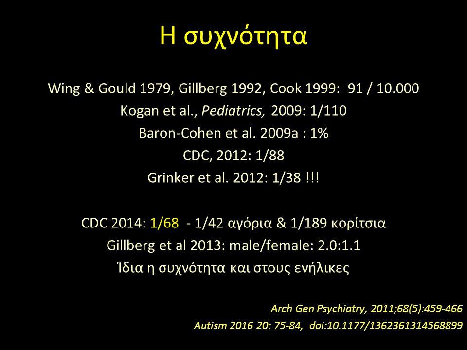 Η συχνότητα Wing & Gould 1979, Gillberg 1992, Cook 1999: 91 / 10.000 Kogan et al., Pediatrics, 2009: 1/110 Baron-Cohen et al.