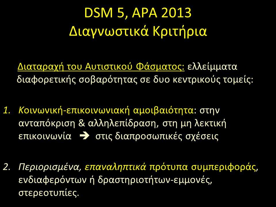 DSM 5, APA 2013 Διαγνωστικά Κριτήρια Διαταραχή του Αυτιστικού Φάσματος: ελλείμματα διαφορετικής σοβαρότητας σε δυο κεντρικούς τομείς: 1.Κοινωνική-επικοινωνιακή αμοιβαιότητα: στην ανταπόκριση & αλληλεπίδραση, στη μη λεκτική επικοινωνία  στις διαπροσωπικές σχέσεις 2.Περιορισμένα, επαναληπτικά πρότυπα συμπεριφοράς, ενδιαφερόντων ή δραστηριοτήτων-εμμονές, στερεοτυπίες.