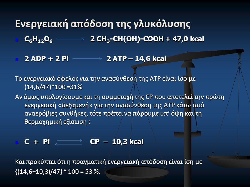 Ενεργειακή απόδοση της γλυκόλυσης C 6 H 12 O 6 2 CH 3 -CH(OH)-COOH + 47,0 kcal C 6 H 12 O 6 2 CH 3 -CH(OH)-COOH + 47,0 kcal 2 ADP + 2 Pi 2 ATP – 14,6 kcal 2 ADP + 2 Pi 2 ATP – 14,6 kcal Το ενεργειακό όφελος για την ανασύνθεση της ΑΤΡ είναι ίσο με (14,6/47)*100 =31% Αν όμως υπολογίσουμε και τη συμμετοχή της CP που αποτελεί την πρώτη ενεργειακή «δεξαμενή» για την ανασύνθεση της ΑΤΡ κάτω από αναερόβιες συνθήκες, τότε πρέπει να πάρουμε υπ' όψη και τη θερμοχημική εξίσωση : C + Pi CP – 10,3 kcal C + Pi CP – 10,3 kcal Και προκύπτει ότι η πραγματική ενεργειακή απόδοση είναι ίση με {(14,6+10,3)/47} * 100 = 53 %.