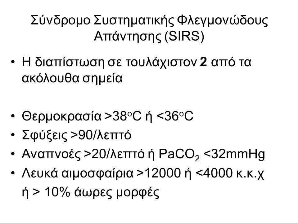 Σύνδρομο Συστηματικής Φλεγμονώδους Απάντησης (SIRS) Η διαπίστωση σε τουλάχιστον 2 από τα ακόλουθα σημεία Θερμοκρασία >38 ο C ή <36 ο C Σφύξεις >90/λεπτό Αναπνοές >20/λεπτό ή PaCO 2 <32mmHg Λευκά αιμοσφαίρια >12000 ή <4000 κ.κ.χ ή > 10% άωρες μορφές