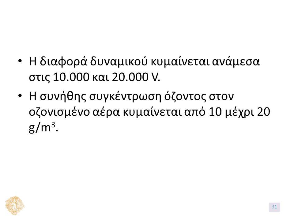 Η διαφορά δυναμικού κυμαίνεται ανάμεσα στις 10.000 και 20.000 V.