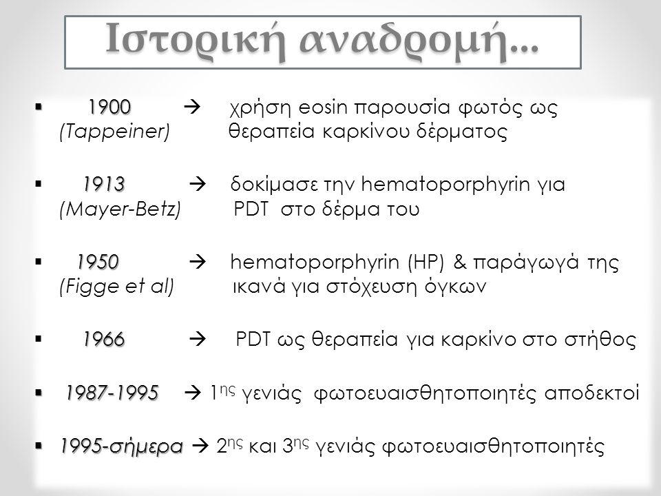  1900  1900  χρήση eosin παρουσία φωτός ως (Tappeiner) θεραπεία καρκίνου δέρματος 1913  1913  δοκίμασε την hematoporphyrin για (Mayer-Betz) PDT σ