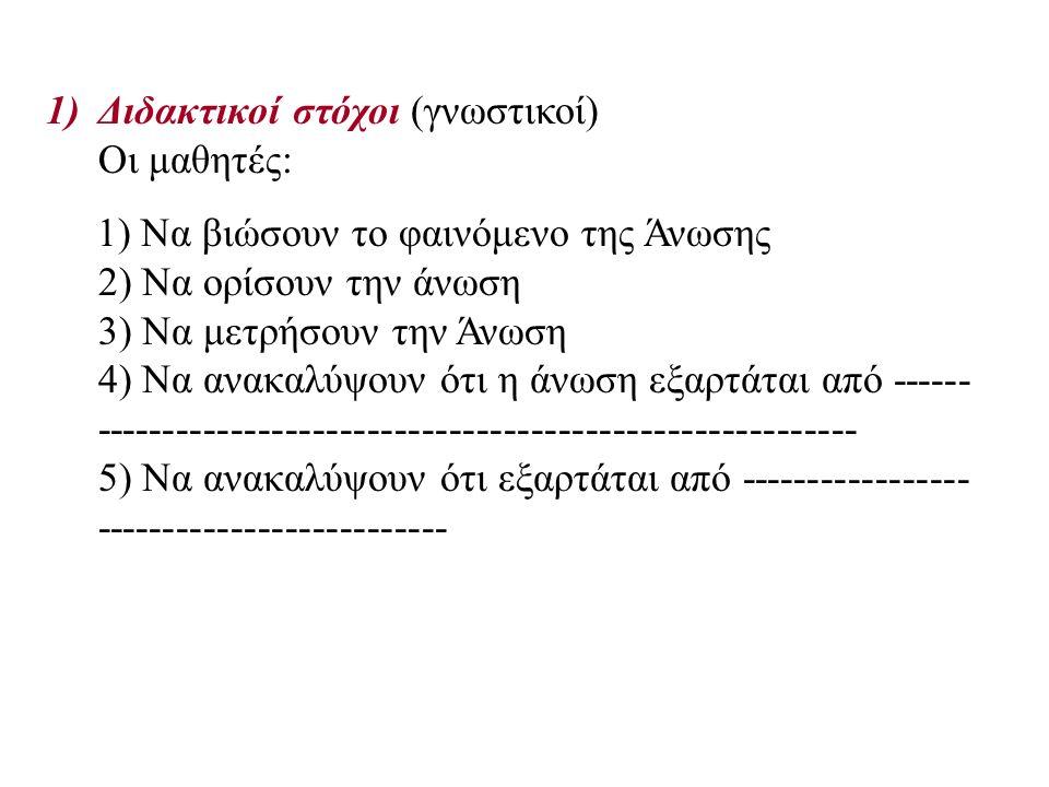 1)Διδακτικοί στόχοι (γνωστικοί) Οι μαθητές: 1) Να βιώσουν το φαινόμενο της Άνωσης 2) Να ορίσουν την άνωση 3) Να μετρήσουν την Άνωση 4) Να ανακαλύψουν ότι η άνωση εξαρτάται από ------ -------------------------------------------------------- 5) Να ανακαλύψουν ότι εξαρτάται από ----------------- --------------------------