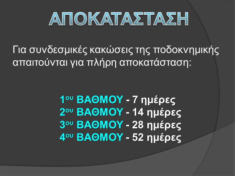 Για συνδεσμικές κακώσεις της ποδοκνημικής απαιτούνται για πλήρη αποκατάσταση: 1 ου ΒΑΘΜΟΥ - 7 ημέρες 2 ου ΒΑΘΜΟΥ - 14 ημέρες 2 ου ΒΑΘΜΟΥ - 14 ημέρες 3 ου ΒΑΘΜΟΥ - 28 ημέρες 3 ου ΒΑΘΜΟΥ - 28 ημέρες 4 ου ΒΑΘΜΟΥ - 52 ημέρες 4 ου ΒΑΘΜΟΥ - 52 ημέρες