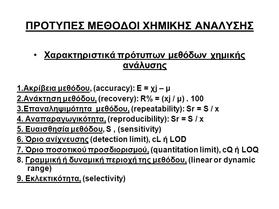 ΠΡΟΤΥΠΕΣ ΜΕΘΟΔΟΙ ΧΗΜΙΚΗΣ ΑΝΑΛΥΣΗΣ Χαρακτηριστικά πρότυπων μεθόδων χημικής ανάλυσης 1.Ακρίβεια μεθόδου, (accuracy): Ε = χj – μ 2.Ανάκτηση μεθόδου, (recovery): R% = (xj / μ).