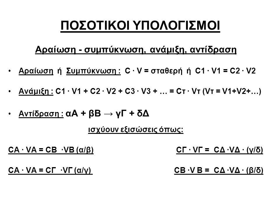 ΠΟΣΟΤΙΚΟΙ ΥΠΟΛΟΓΙΣΜΟΙ Αραίωση - συμπύκνωση, ανάμιξη, αντίδραση Αραίωση ή Συμπύκνωση : C ∙ V = σταθερή ή C1 ∙ V1 = C2 ∙ V2 Ανάμιξη : C1 ∙ V1 + C2 ∙ V2 + C3 ∙ V3 + … = Cτ ∙ Vτ (Vτ = V1+V2+…) Αντίδραση : αΑ + βΒ → γΓ + δΔ ισχύουν εξισώσεις όπως: CA ∙ VA = CB ∙VB (α/β)CΓ ∙ VΓ = CΔ ∙VΔ ∙ (γ/δ) CA ∙ VA = CΓ ∙VΓ (α/γ) CΒ ∙V Β = CΔ ∙VΔ ∙ (β/δ)