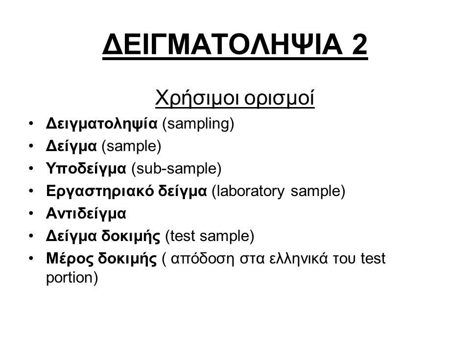 ΔΕΙΓΜΑΤΟΛΗΨΙΑ 2 Χρήσιμοι ορισμοί Δειγματοληψία (sampling) Δείγμα (sample) Υποδείγμα (sub-sample) Εργαστηριακό δείγμα (laboratory sample) Αντιδείγμα Δείγμα δοκιμής (test sample) Μέρος δοκιμής ( απόδοση στα ελληνικά του test portion)