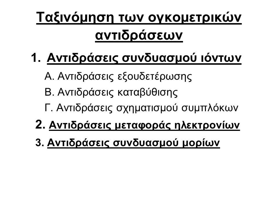 Ταξινόμηση των ογκομετρικών αντιδράσεων 1.Αντιδράσεις συνδυασμού ιόντων Α.