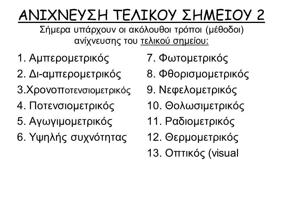 ΑΝΙΧΝΕΥΣΗ ΤΕΛΙΚΟΥ ΣΗΜΕΙΟΥ 2 Σήμερα υπάρχουν οι ακόλουθοι τρόποι (μέθοδοι) ανίχνευσης του τελικού σημείου: 1.