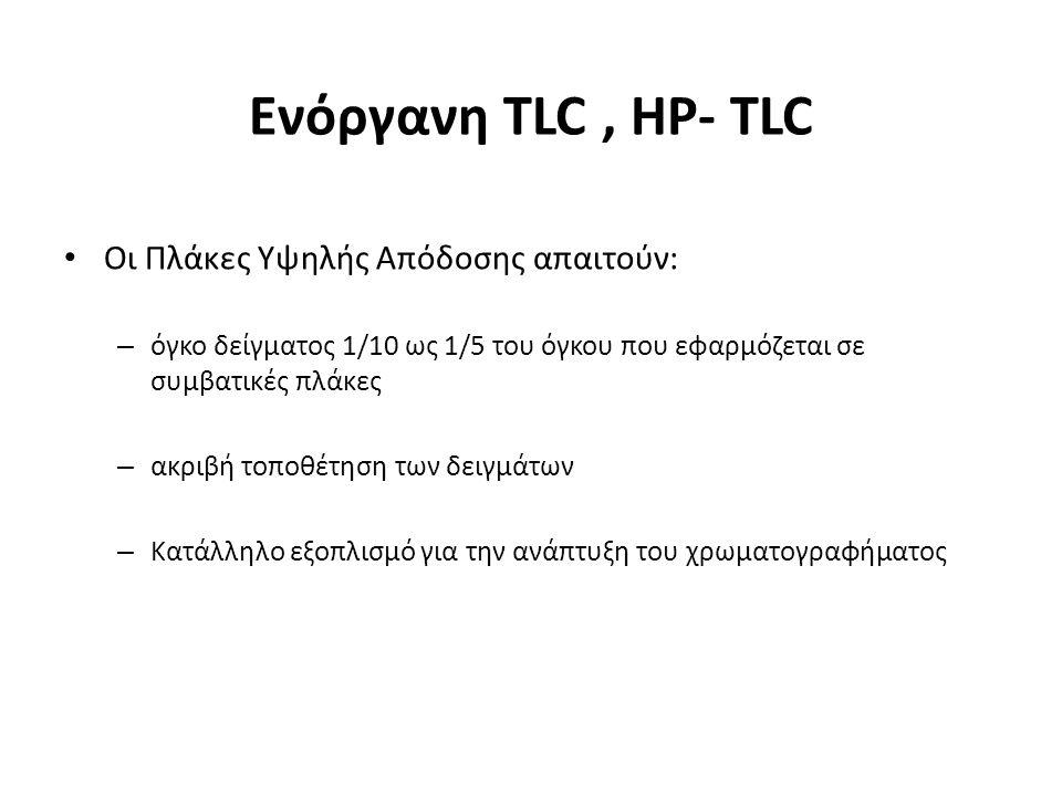 Οι Πλάκες Υψηλής Απόδοσης απαιτούν: – όγκο δείγματος 1/10 ως 1/5 του όγκου που εφαρμόζεται σε συμβατικές πλάκες – ακριβή τοποθέτηση των δειγμάτων – Κατάλληλο εξοπλισμό για την ανάπτυξη του χρωματογραφήματος Ενόργανη TLC, HP- TLC