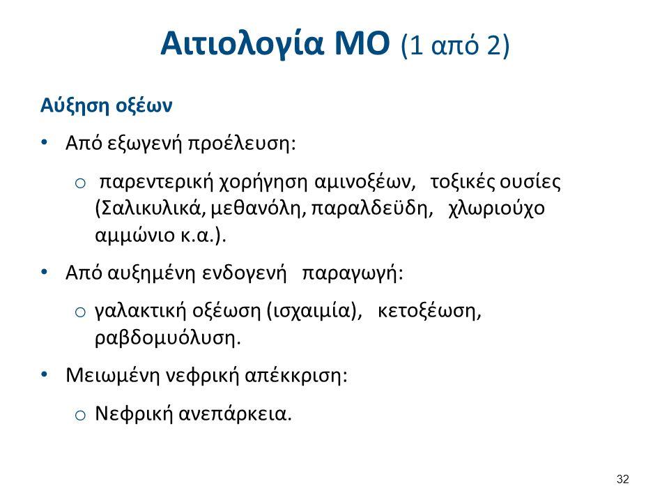 Αιτιολογία ΜΟ (1 από 2) Αύξηση οξέων Από εξωγενή προέλευση: o παρεντερική χορήγηση αμινοξέων, τοξικές ουσίες (Σαλικυλικά, μεθανόλη, παραλδεϋδη, χλωριούχο αμμώνιο κ.α.).