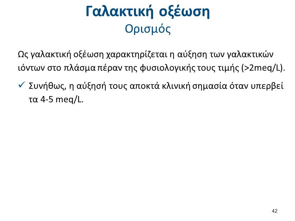 Γαλακτική οξέωση Ορισμός Ως γαλακτική οξέωση χαρακτηρίζεται η αύξηση των γαλακτικών ιόντων στο πλάσμα πέραν της φυσιολογικής τους τιμής (>2meq/L).