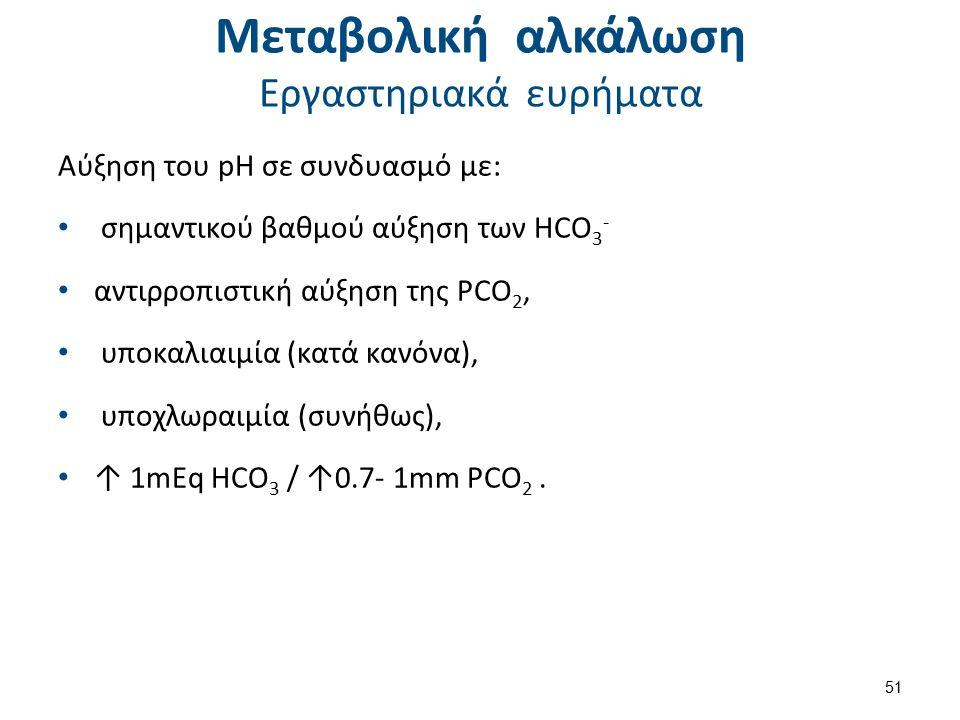 Μεταβολική αλκάλωση Εργαστηριακά ευρήματα Αύξηση του pH σε συνδυασμό με: σημαντικού βαθμού αύξηση των HCO 3 - αντιρροπιστική αύξηση της PCO 2, υποκαλιαιμία (κατά κανόνα), υποχλωραιμία (συνήθως), ↑ 1mEq HCO 3 / ↑0.7- 1mm PCO 2.