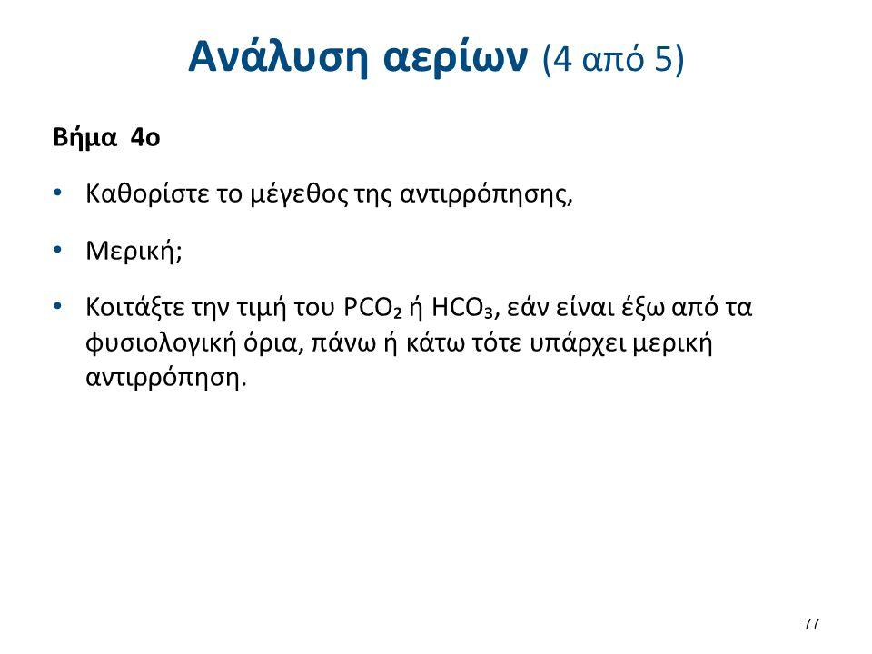 Ανάλυση αερίων (4 από 5) Βήμα 4ο Kαθορίστε το μέγεθος της αντιρρόπησης, Μερική; Κοιτάξτε την τιμή του PCO₂ ή HCO₃, εάν είναι έξω από τα φυσιολογική όρια, πάνω ή κάτω τότε υπάρχει μερική αντιρρόπηση.