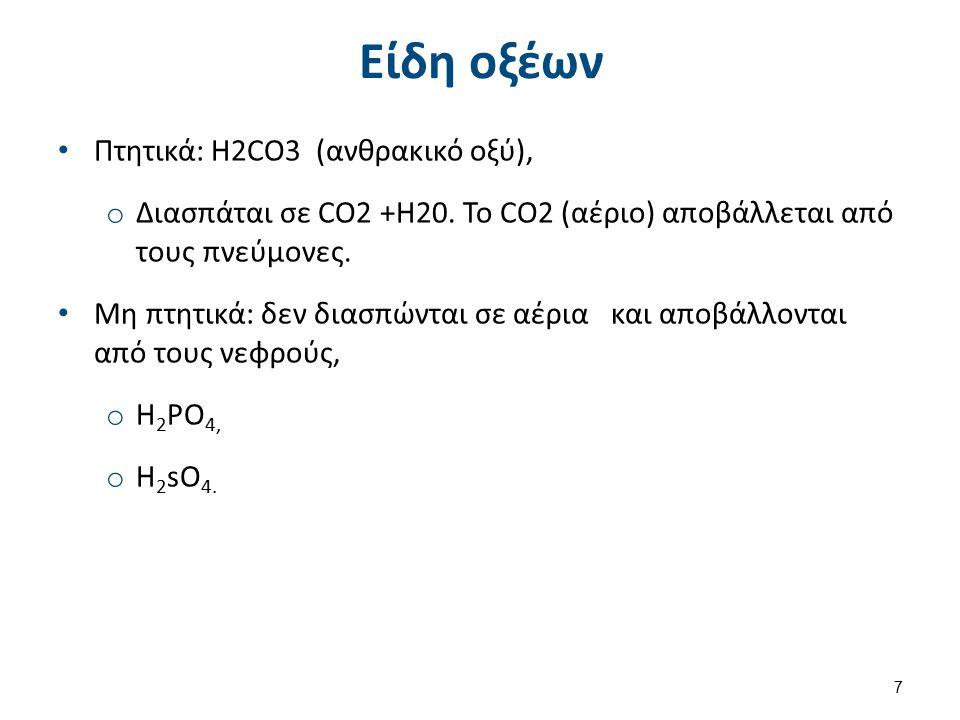 Είδη οξέων Πτητικά: H2CO3 (ανθρακικό οξύ), o Διασπάται σε CO2 +H20.