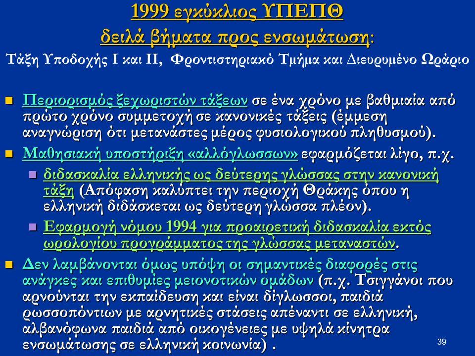 39 1999 εγκύκλιος ΥΠΕΠΘ δειλά βήματα προς ενσωμάτωση: Τάξη Υποδοχής Ι και ΙΙ, Φροντιστηριακό Τµήµα και ∆ιευρυµένο Ωράριο Περιορισμός ξεχωριστών τάξεων