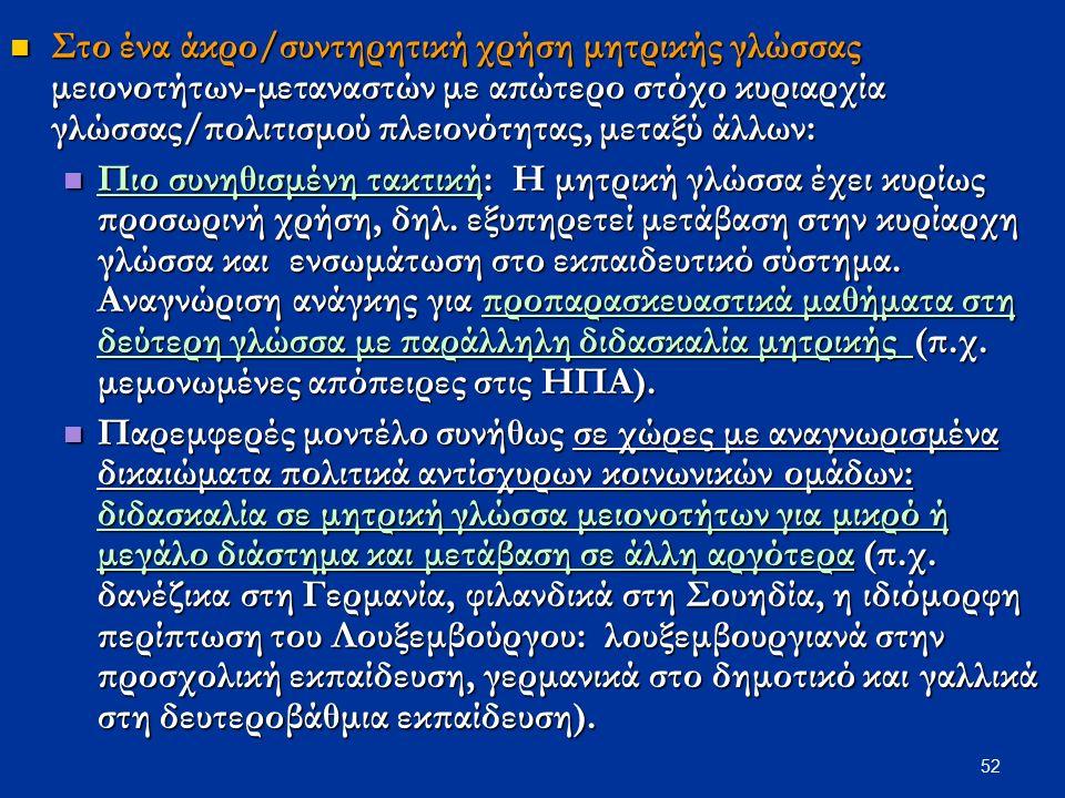 52 Στο ένα άκρο/συντηρητική χρήση μητρικής γλώσσας μειονοτήτων-μεταναστών με απώτερο στόχο κυριαρχία γλώσσας/πολιτισμού πλειονότητας, μεταξύ άλλων: Στ