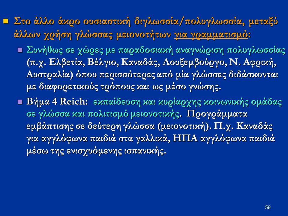 59 Στο άλλο άκρο ουσιαστική διγλωσσία/πολυγλωσσία, μεταξύ άλλων χρήση γλώσσας μειονοτήτων για γραμματισμό: Στο άλλο άκρο ουσιαστική διγλωσσία/πολυγλωσ