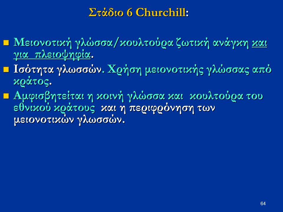 64 Στάδιο 6 Churchill: Μειονοτική γλώσσα/κουλτούρα ζωτική ανάγκη και για πλειοψηφία. Μειονοτική γλώσσα/κουλτούρα ζωτική ανάγκη και για πλειοψηφία. Ισό