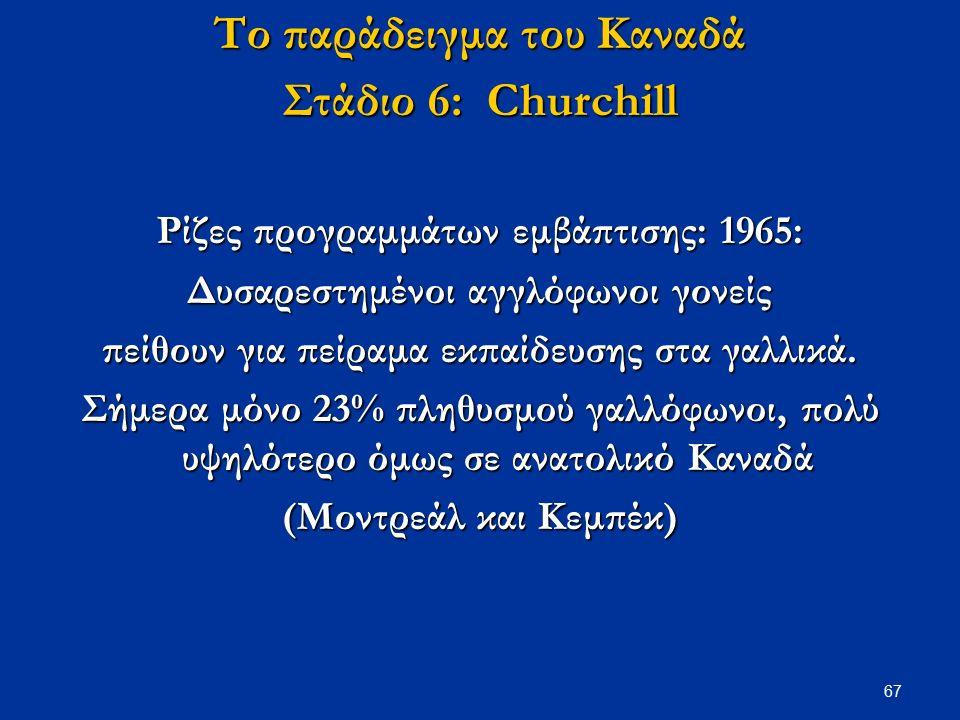 67 Το παράδειγμα του Καναδά Στάδιο 6: Churchill Ρίζες προγραμμάτων εμβάπτισης: 1965: Δυσαρεστημένοι αγγλόφωνοι γονείς πείθουν για πείραμα εκπαίδευσης