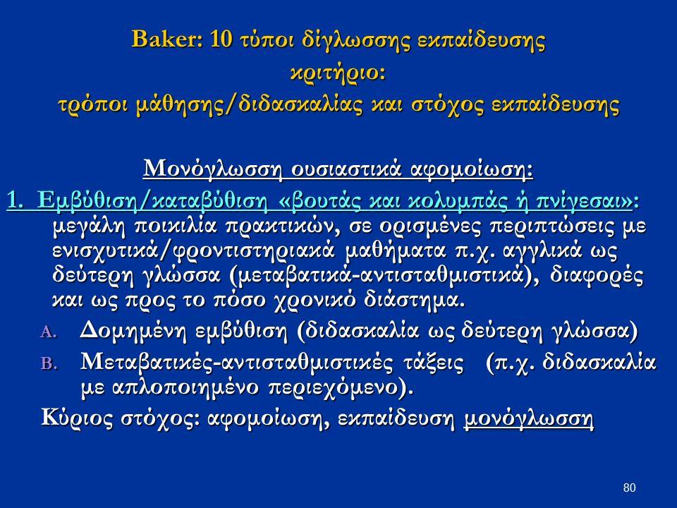 80 Βaker: 10 τύποι δίγλωσσης εκπαίδευσης κριτήριο: τρόποι μάθησης/διδασκαλίας και στόχος εκπαίδευσης Μονόγλωσση ουσιαστικά αφομοίωση: 1. Εμβύθιση/κατα
