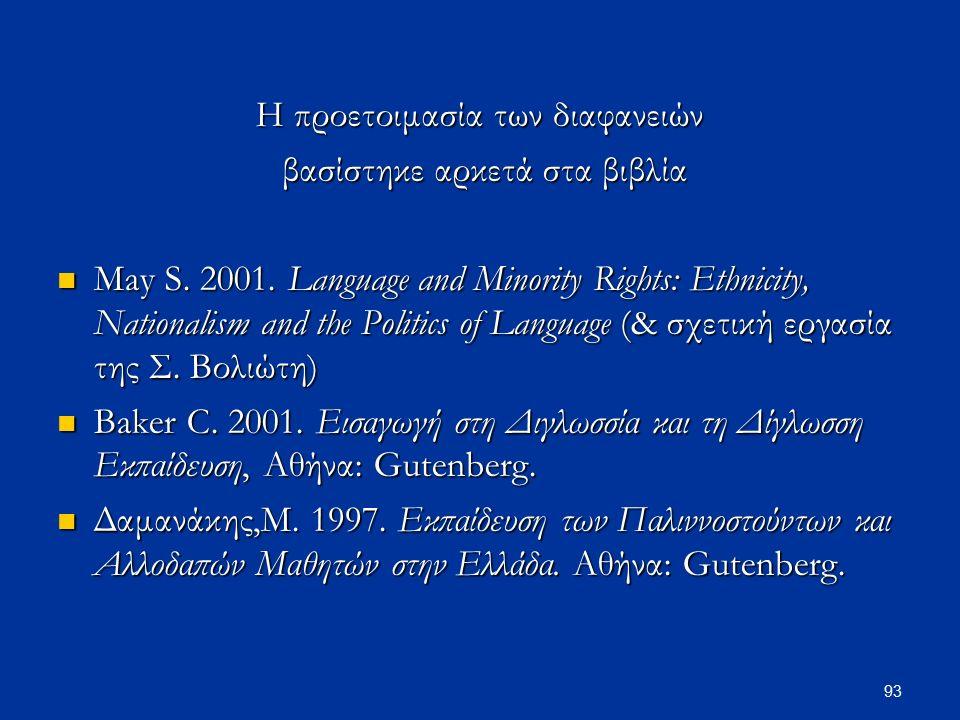 93 Η προετοιμασία των διαφανειών βασίστηκε αρκετά στα βιβλία βασίστηκε αρκετά στα βιβλία May S. 2001. Language and Minority Rights: Ethnicity, Nationa