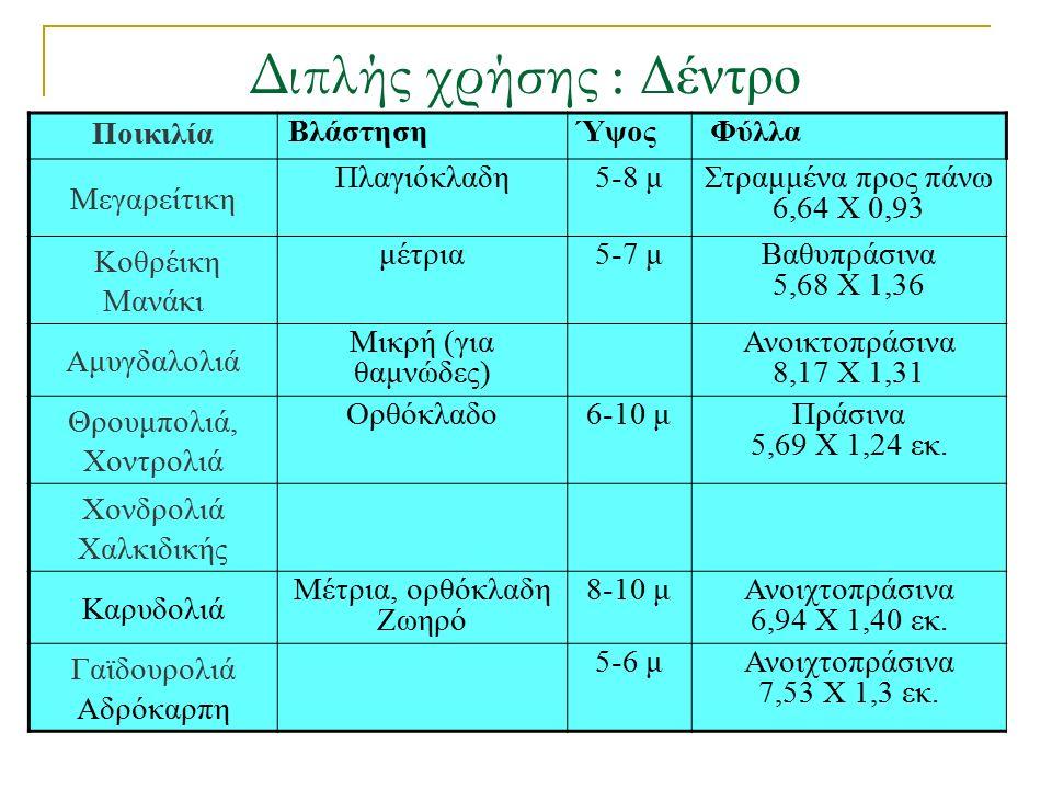 Διπλής χρήσης : Δέντρο Ποικιλία ΒλάστησηΎψος Φύλλα Μεγαρείτικη Πλαγιόκλαδη5-8 μΣτραμμένα προς πάνω 6,64 Χ 0,93 Κοθρέικη Μανάκι μέτρια5-7 μΒαθυπράσινα 5,68 Χ 1,36 Αμυγδαλολιά Μικρή (για θαμνώδες) Ανοικτοπράσινα 8,17 Χ 1,31 Θρουμπολιά, Χοντρολιά Ορθόκλαδο6-10 μΠράσινα 5,69 Χ 1,24 εκ.