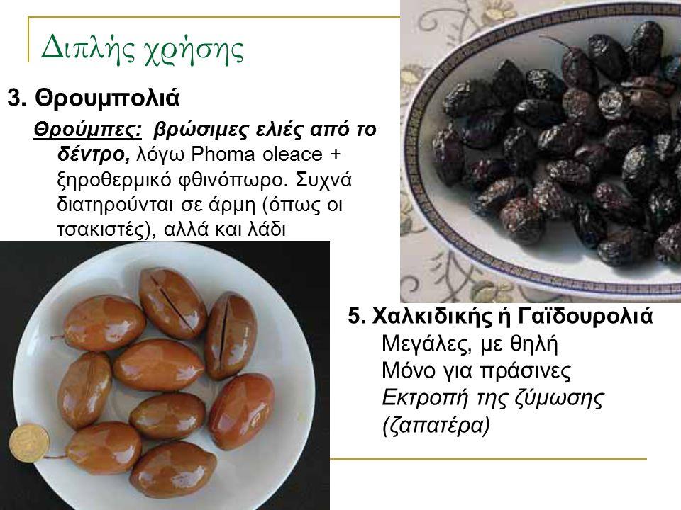 Διπλής χρήσης 3. Θρουμπολιά Θρούμπες: βρώσιμες ελιές από το δέντρο, λόγω Phoma oleace + ξηροθερμικό φθινόπωρο. Συχνά διατηρούνται σε άρμη (όπως οι τσα