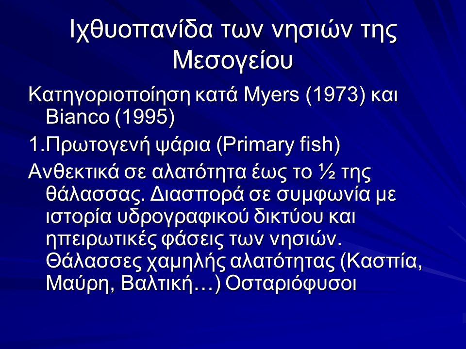 Ιχθυοπανίδα των νησιών της Μεσογείου Κατηγοριοποίηση κατά Myers (1973) και Bianco (1995) 1.Πρωτογενή ψάρια (Primary fish) Ανθεκτικά σε αλατότητα έως το ½ της θάλασσας.