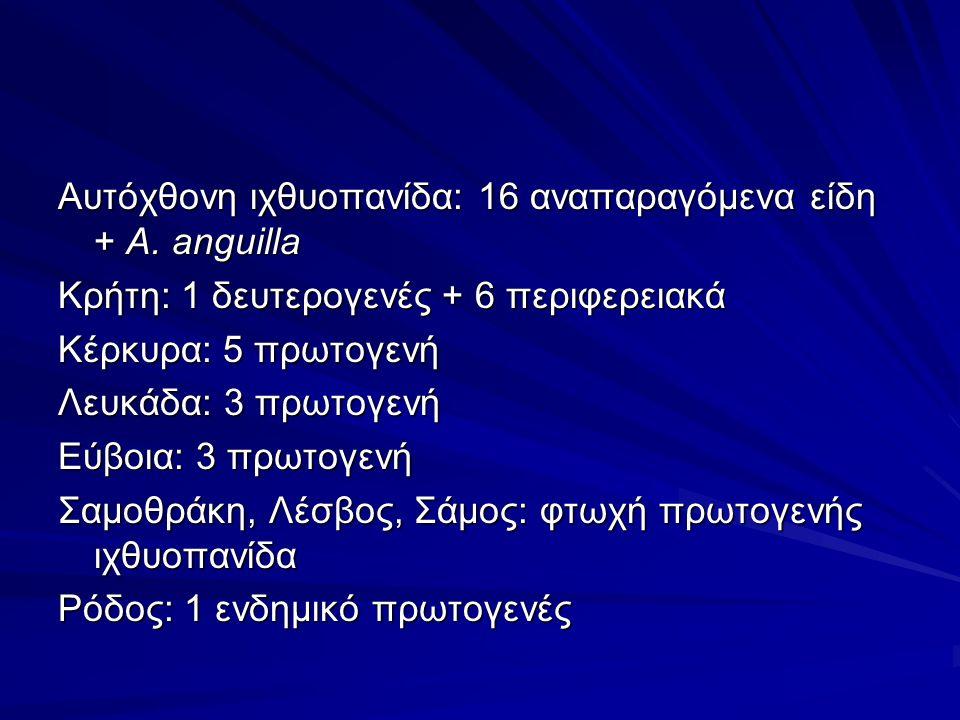 Αυτόχθονη ιχθυοπανίδα: 16 αναπαραγόμενα είδη + A.