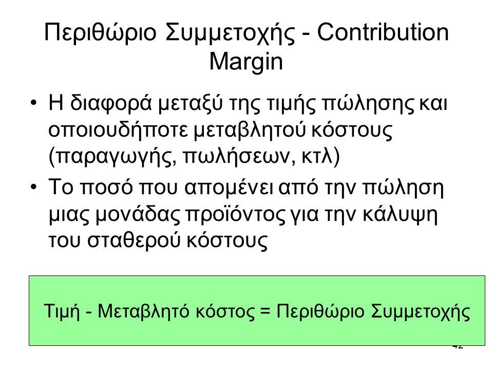 Περιθώριο Συμμετοχής - Contribution Margin Η διαφορά μεταξύ της τιμής πώλησης και οποιουδήποτε μεταβλητού κόστους (παραγωγής, πωλήσεων, κτλ) Το ποσό που απομένει από την πώληση μιας μονάδας προϊόντος για την κάλυψη του σταθερού κόστους 42 Τιμή - Μεταβλητό κόστος = Περιθώριο Συμμετοχής