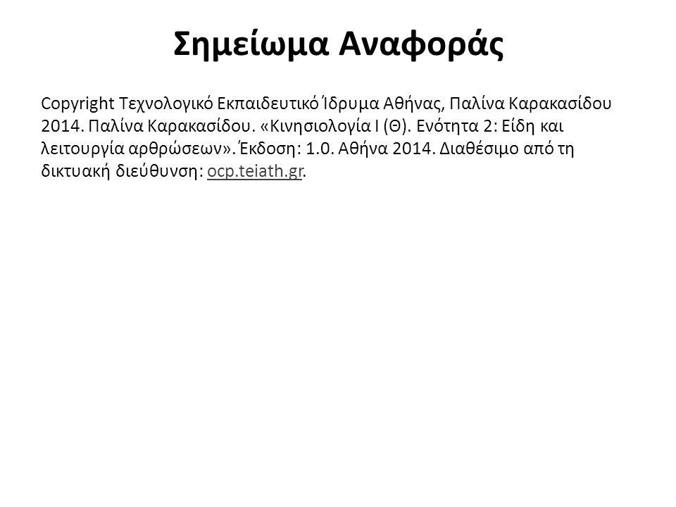 Σημείωμα Αναφοράς Copyright Τεχνολογικό Εκπαιδευτικό Ίδρυμα Αθήνας, Παλίνα Καρακασίδου 2014. Παλίνα Καρακασίδου. «Κινησιολογία Ι (Θ). Ενότητα 2: Είδη