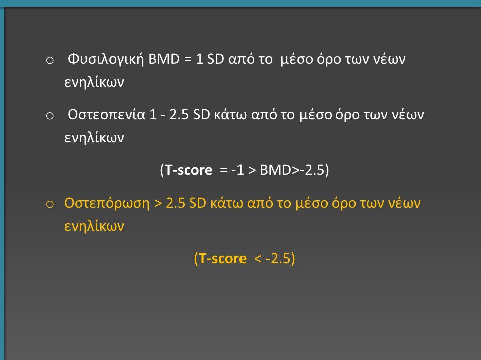 o Φυσιλογική BMD = 1 SD από το μέσο όρο των νέων ενηλίκων o Οστεοπενία 1 - 2.5 SD κάτω από το μέσο όρο των νέων ενηλίκων (T-score = -1 > BMD>-2.5) o Ο