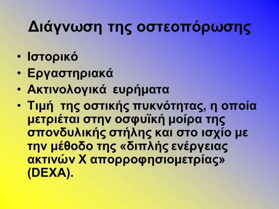 Διάγνωση της οστεοπόρωσης Ιστορικό Εργαστηριακά Ακτινολογικά ευρήματα Τιμή της οστικής πυκνότητας, η οποία μετριέται στην οσφυϊκή μοίρα της σπονδυλικής στήλης και στο ισχίο με την μέθοδο της «διπλής ενέργειας ακτινών Χ απορροφησιομετρίας» (DEXA).