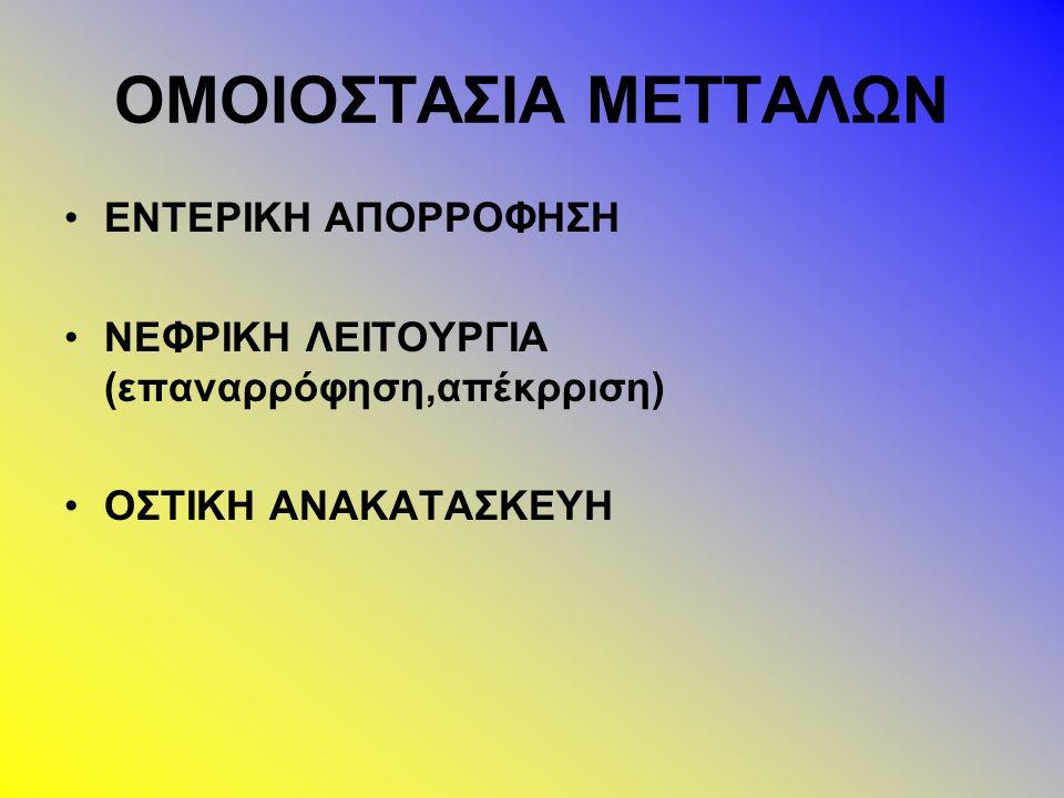 ΟΜΟΙΟΣΤΑΣΙΑ ΜΕΤΤΑΛΩΝ ΕΝΤΕΡΙΚΗ ΑΠΟΡΡΟΦΗΣΗ ΝΕΦΡΙΚΗ ΛΕΙΤΟΥΡΓΙΑ (επαναρρόφηση,απέκρριση) ΟΣΤΙΚΗ ΑΝΑΚΑΤΑΣΚΕΥΗ