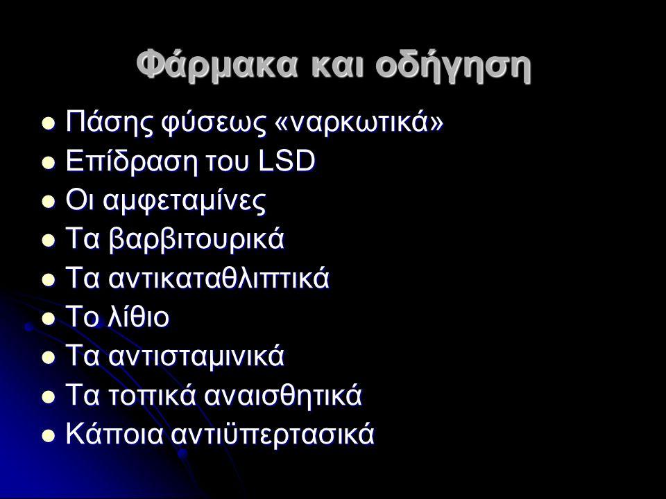 Φάρμακα και οδήγηση Πάσης φύσεως «ναρκωτικά» Πάσης φύσεως «ναρκωτικά» Επίδραση του LSD Επίδραση του LSD Οι αμφεταμίνες Οι αμφεταμίνες Τα βαρβιτουρικά Τα βαρβιτουρικά Τα αντικαταθλιπτικά Τα αντικαταθλιπτικά Το λίθιο Το λίθιο Τα αντισταμινικά Τα αντισταμινικά Τα τοπικά αναισθητικά Τα τοπικά αναισθητικά Κάποια αντιϋπερτασικά Κάποια αντιϋπερτασικά
