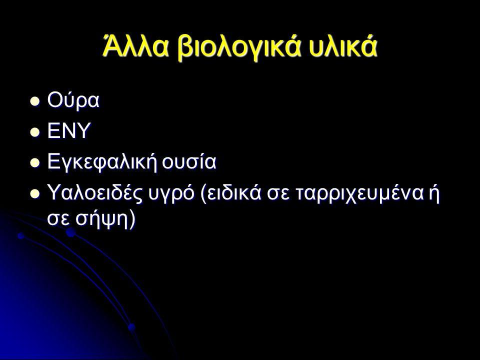 Άλλα βιολογικά υλικά Ούρα Ούρα ΕΝΥ ΕΝΥ Εγκεφαλική ουσία Εγκεφαλική ουσία Υαλοειδές υγρό (ειδικά σε ταρριχευμένα ή σε σήψη) Υαλοειδές υγρό (ειδικά σε ταρριχευμένα ή σε σήψη)